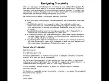 Graceful Resignation Letter Sample Word Template