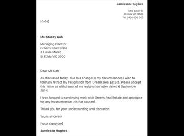 Resignation Retraction Letter