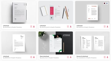Envato Elements' selection of premium letterhead templates in MS Word
