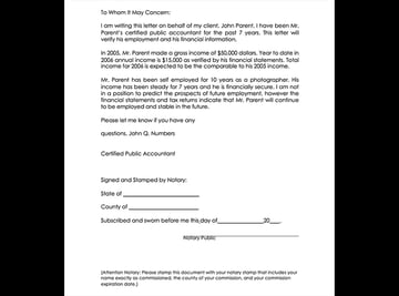 Free Income and Employment Verification Letter by Accountant