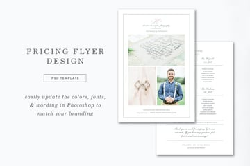 Photographer Price Sheet Template, a visually appealing premium face sheet from Envato Elements