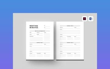 Meeting Minutes - PDF, MS Word, InDesign