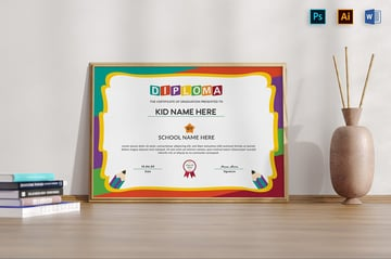 Diploma Certificate Kid, a premium diploma template Word on Envato Elements
