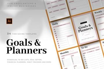 Goals & Planner Bundle, 24 time saving templates on Envato Elements