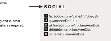 Social media information section