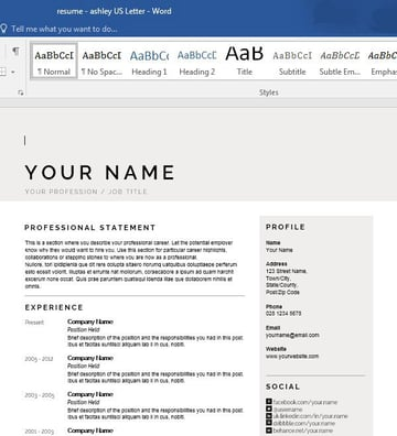 Modern Resume Template with Default Information