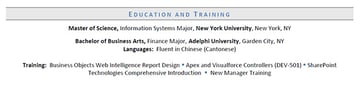 Education and training section example