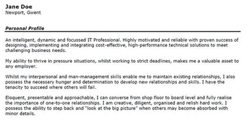 Skill-based resume first person summary example