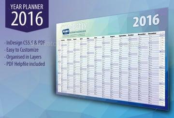 Year Wall Calendar Year Planner 2016 Printable