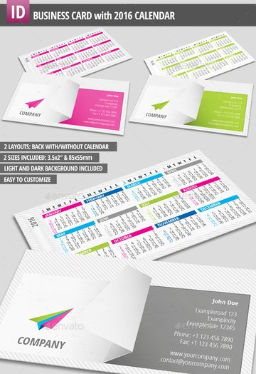Business Card with Printable 2016 Monthly Calendar