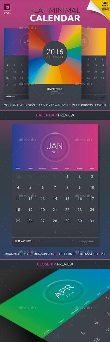 Flat Minimal Monthly Printable Calendar