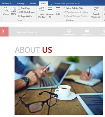 Business proposal Word template - image addition