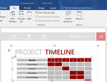 Project timeline gray highlight