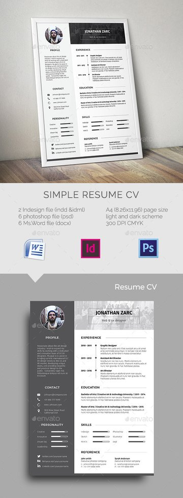 Simple resume template format with creative sections