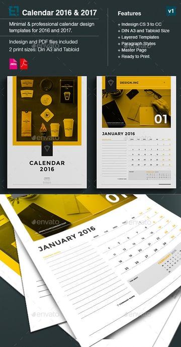 Minimal modern monthly calendar template