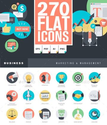 Flat icon graphics template set
