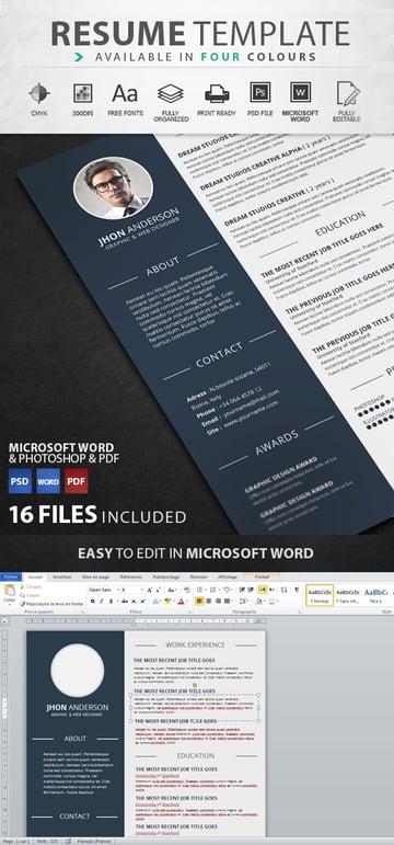 Creative graphic design resume template
