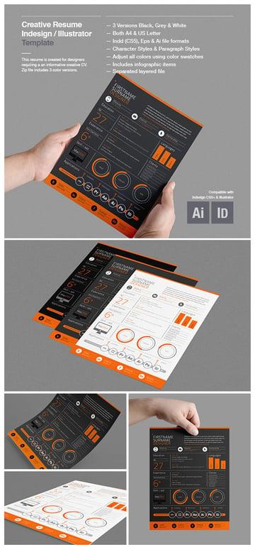 Creative resume template infographic design