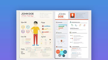 Flat Style Resume Template Design With Infographics