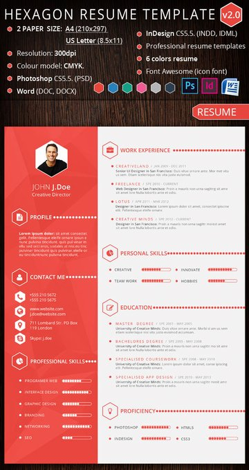 Hexagon creative resume template design