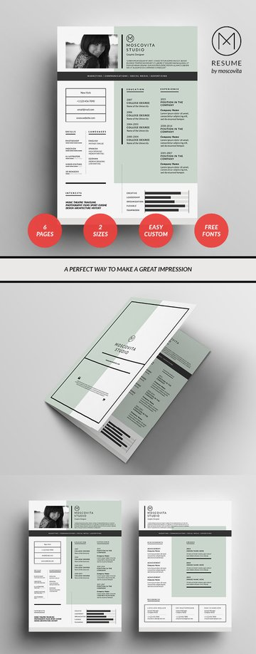 Graphic resume template design