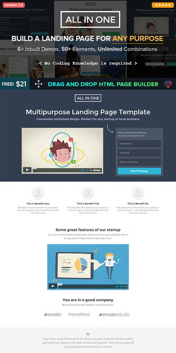 All In One Landing Page Template Builder