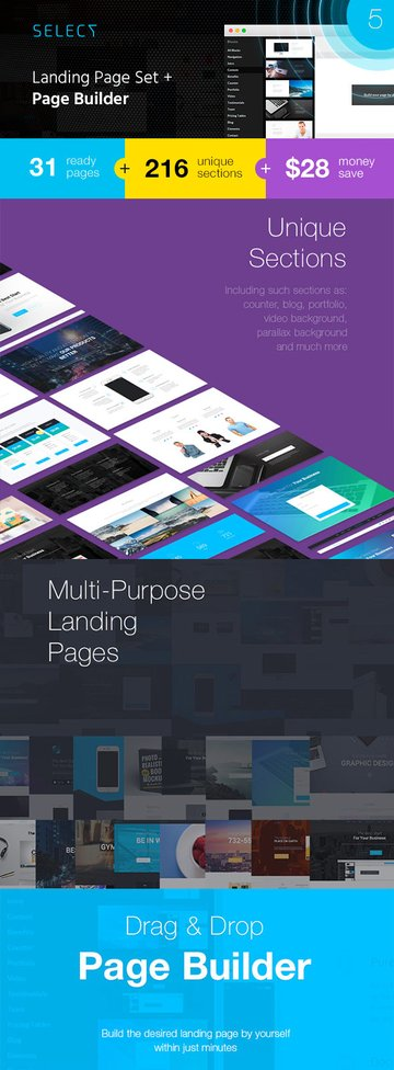 Select landing page template builder
