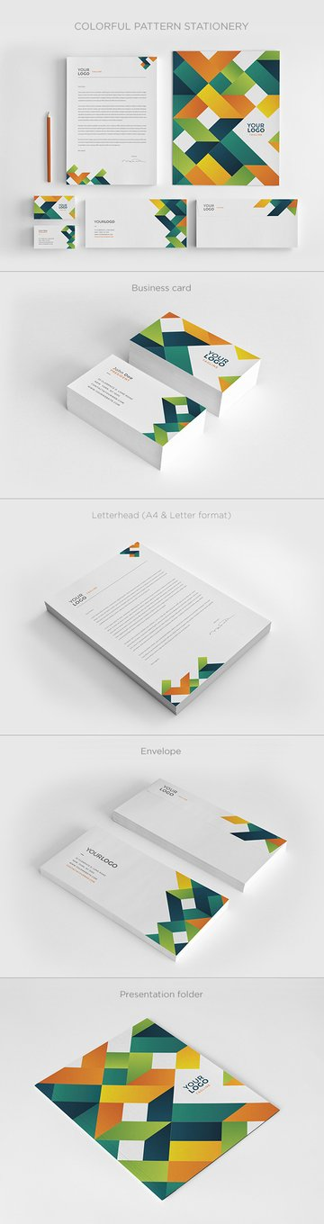 Colorful Pattern Stationery Design Templates