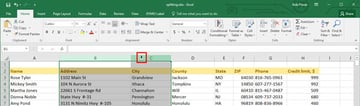 Selecting Excel columns