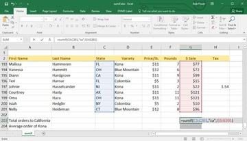 Add the value of column G