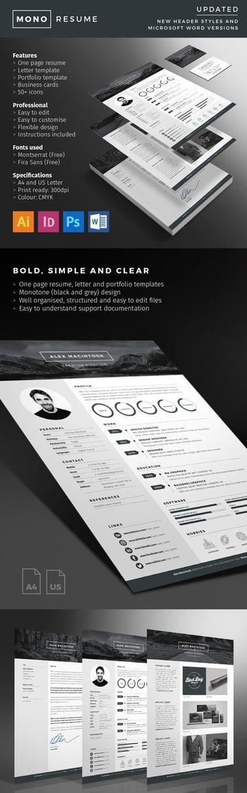 Mono Resume With Minimal Design