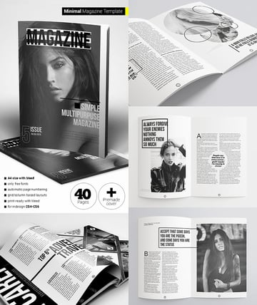 40 Pages Minimal Design Magazine INDD