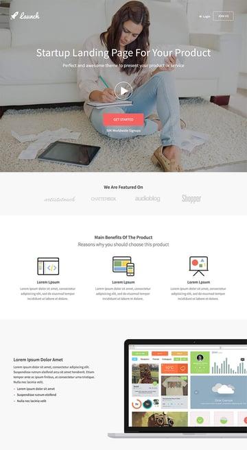 Startup Landing Page Bootstrap WordPress Theme