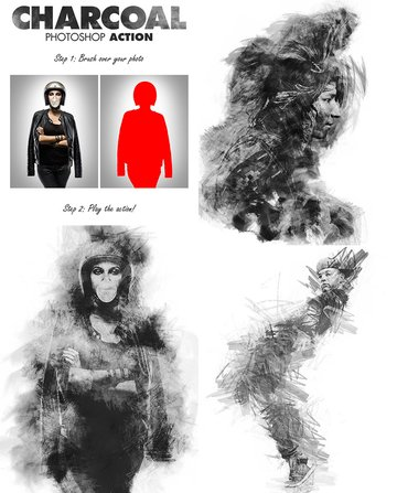 Charcoal Effect PSD Photo Action