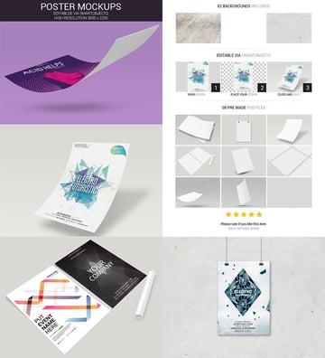 Poster Mockups Design Bundle Photoshop