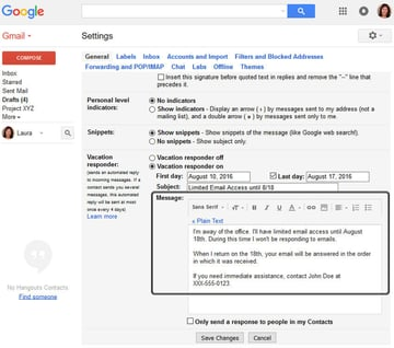 Gmail Vacation Responder - Message Body
