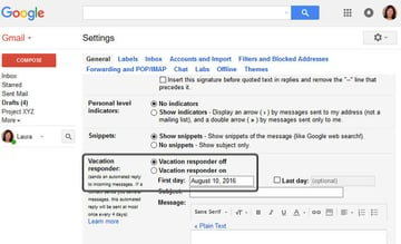 Gmail Vacation Responder - Toggle