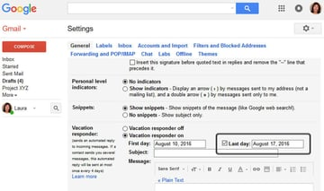 Gmail Vacation Responder - Last Day