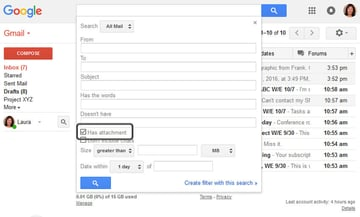 Search for emails that have attachments