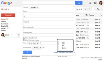 Search for messages by size in MB KB or Bytes