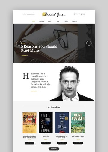 WordPress Theme Blog for Writers and Journalists - With Bookstore
