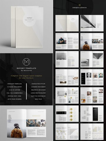 Minimal Style InDesign Annual Report With Beautiful Design