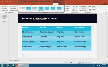 How to use the PowerPoint Table Tool Design Presets