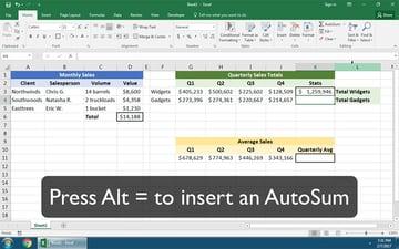 Autosum in Excel Shortcut