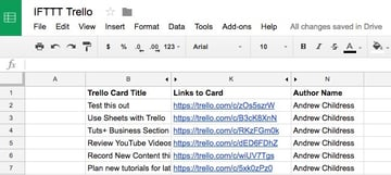 A list of Trello cards logged that Ive created in a new Google Sheet