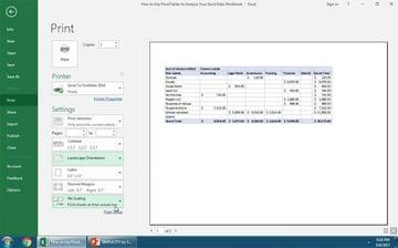 Excel Print Screen settings