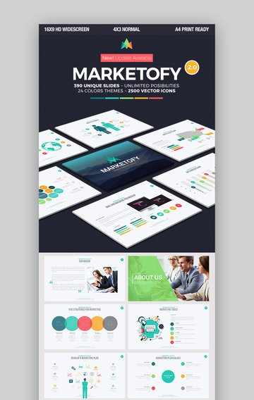 Marketofy PowerPoint template with flowchart slides