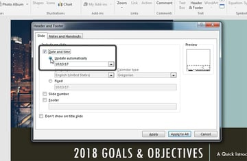Date and Time setting in PowerPoint