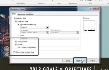 Edit PowerPoint footer automatically