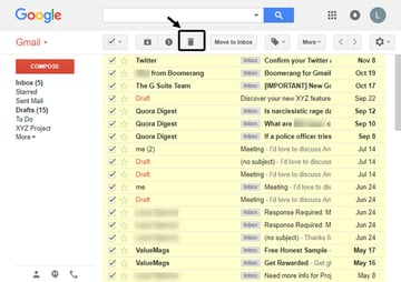 how to mass delete email in Gmail